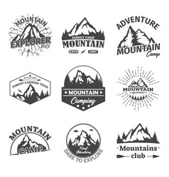 Rocky winter mountains landscape as signs or icons vector