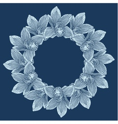 Round frame made of orchid flower vector image
