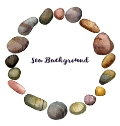 round frame with sea stones drawing in vector image