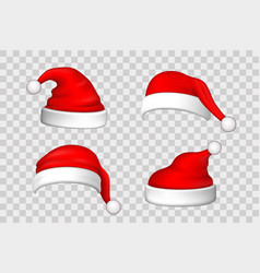 santa claus hat 3d set realistic santa claus hat vector image