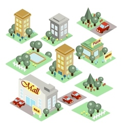 set isometric city vector image