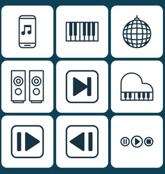 set of 9 audio icons includes song ui audio vector image
