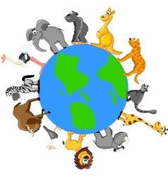 Set of wild animals on globe vector image