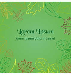 Simple green autumn leaf color border for your vector