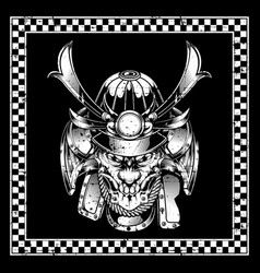 skull samurai hand drawing vector image