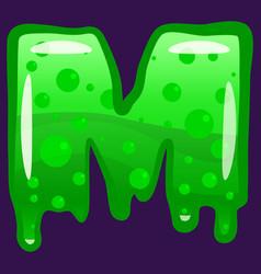 slime font type letter m latin alphabet green vector image