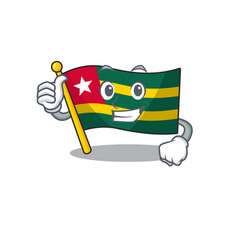 Smiley mascot flag togo scroll making thumbs up vector