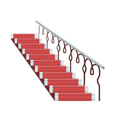 Staircase luxurious wooden covered red carpet vector