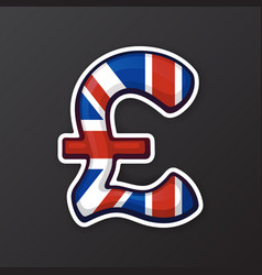 Sticker pound sign in national flag colors vector