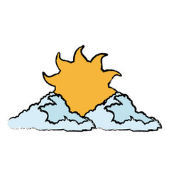 Sun and cloud cartoon weather drawn vector