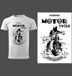 T-shirt design with motorcyclist vector