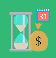 time for salary concept flat vector image