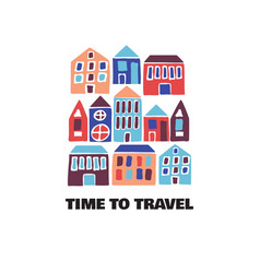 Time to travel card modern flat hand drawn vector