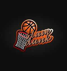 typography basketball slam dunk sport retro style vector image