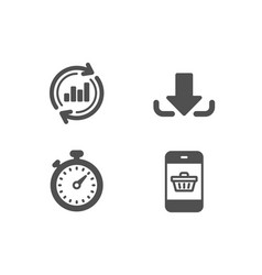 Update data download and timer icons smartphone vector