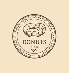 Vintage donut logo retro sweet bakery label vector