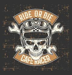 vintage grunge style skull wearing helmet vector image
