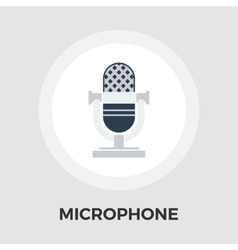 Vintage microphone flat icon vector