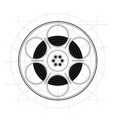 vintage retro sketch style movie film reel on vector image
