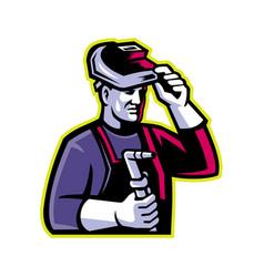 Welder welding torch mascot vector