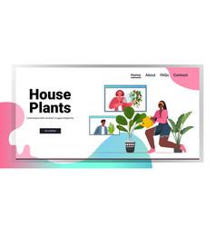 Woman watering houseplants african american vector