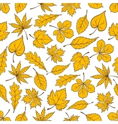 Yellow autumn fallen leaves seamless pattern vector image