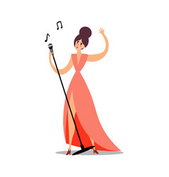 young woman in pink dress standing and singing vector image