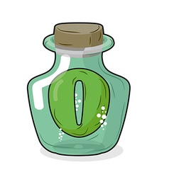 Zero in magical bottle Number 0 in bottle for vector image