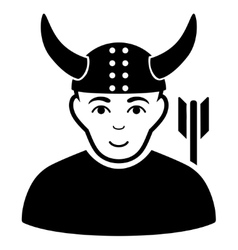 Horned Warrior Flat Icon vector image