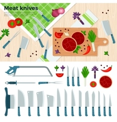 Modern Kitchen Knives for Meat and Vegetables vector image vector image