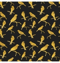 Seamless pattern with golden birds on black vector image vector image