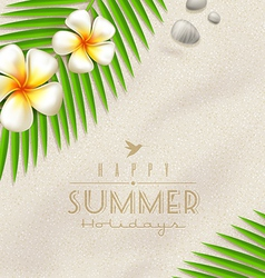Tropical flowers and palm tree branches vector image vector image