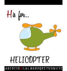 vocabulary worksheet card with cartoon helicopter vector image vector image