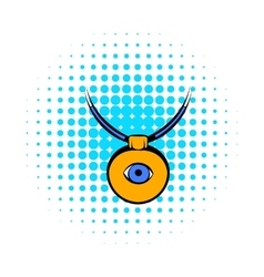 Amulet against the evil eye icon comics style vector