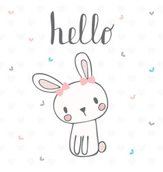 cute postcard with funny rabbit card with hello vector image vector image