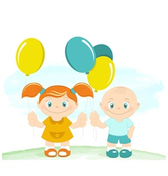 Happy kids with toy balloons vector image vector image