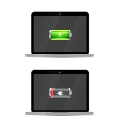 Laptops with full and empty glossy battery icons vector image