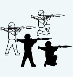 Mercenary shoot with a bazooka vector image