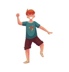 Portrait of teenaged red haired boy in shorts vector image vector image