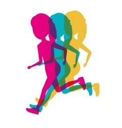 silhouette colored girls running icon vector image
