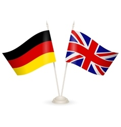 Table stand with flags of England and Germany vector image vector image
