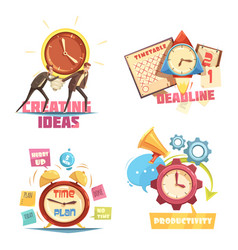 time management retro cartoon compositions vector image vector image