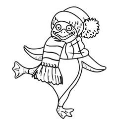Cartoon image of penguin wearing hat vector