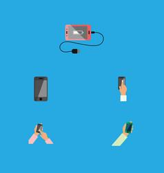 Flat icon smartphone set of accumulator vector