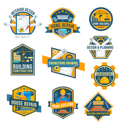 label icons of house repair work tools vector image