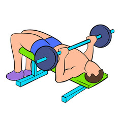men training on the bench press icon cartoon vector image vector image
