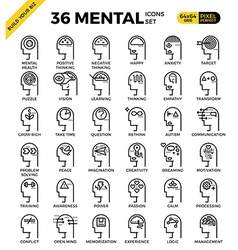 Mental Mind pixel perfect outline icons vector image vector image