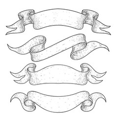 ribbon banners hand drawn sketch vector image