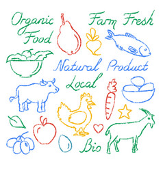 set of hand drawn farm food icons and lettering vector image vector image