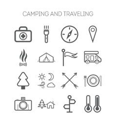 Set of simple icons for camping and traveling vector image